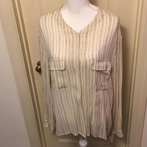 Jones New York Cream / Navy Blouse NWT